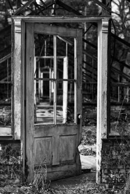 A dilapidated greenhouse door on the grounds of Valley Forge National Historical Park