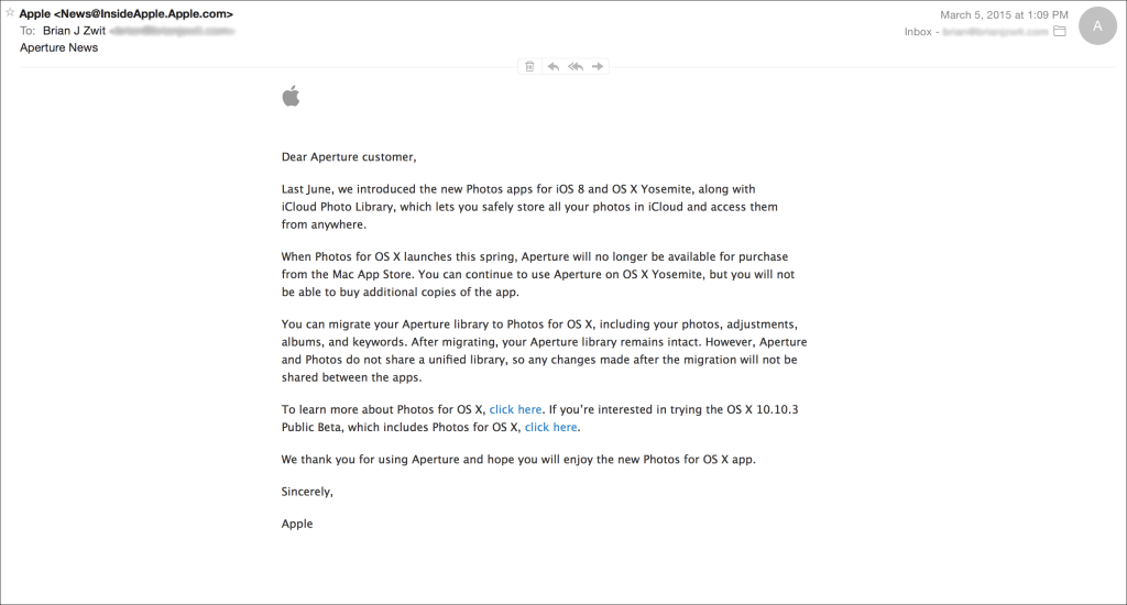 Apple e-mail re aperture