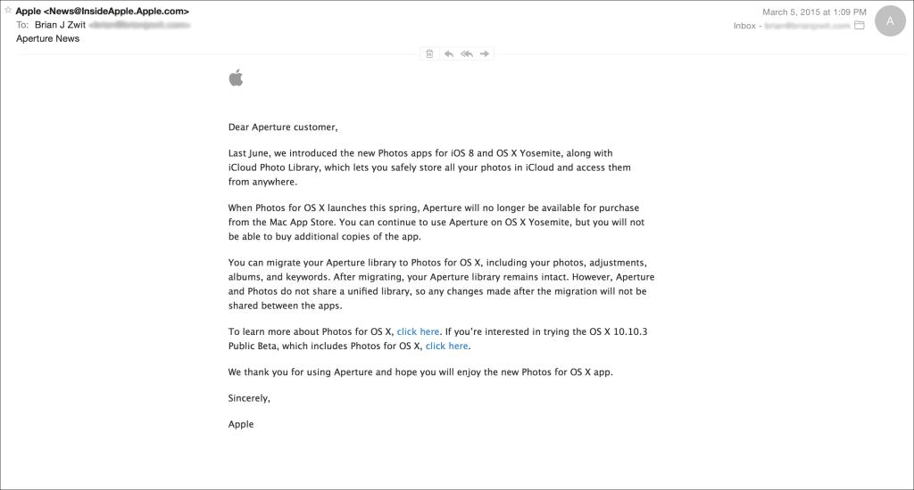 Apple e-mail re aperture